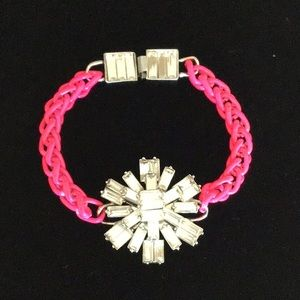 kate spade starburst gem and pink cord bracelet